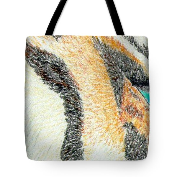 Tote Bag featuring the drawing Tiger Blue by Stephanie Grant