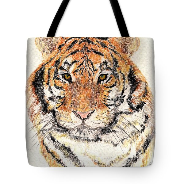 Tote Bag featuring the drawing Tiger Bright by Stephanie Grant