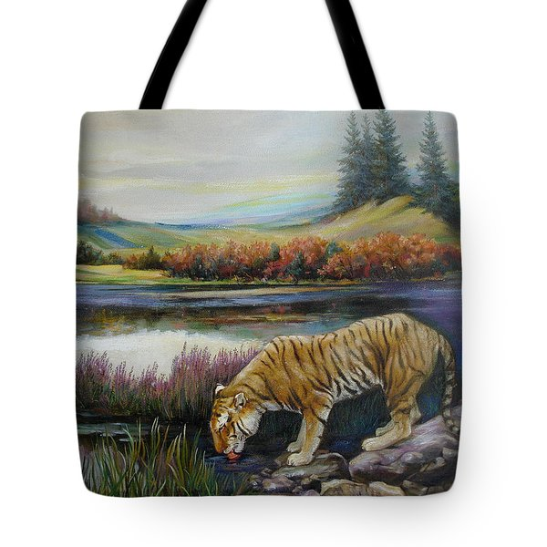 Tiger By The River Tote Bag
