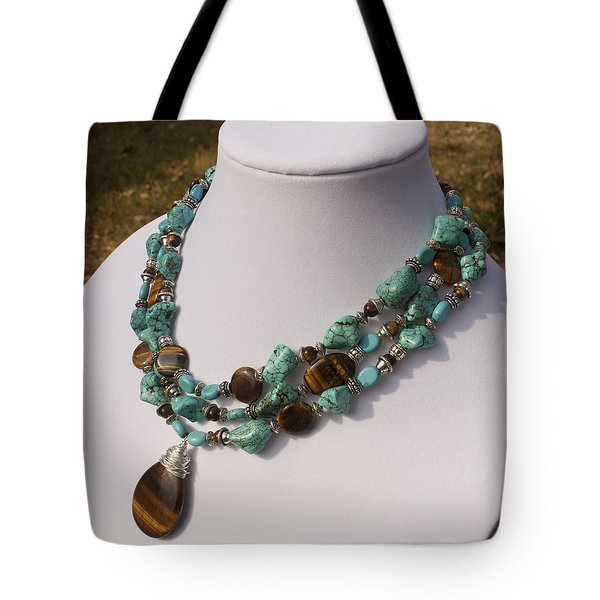 Tiger Eye And Turquoise Triple Strand Necklace 3640 Tote Bag by Teresa Mucha