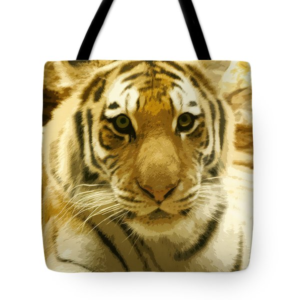 Tote Bag featuring the digital art Tiger Eyes by Erika Weber