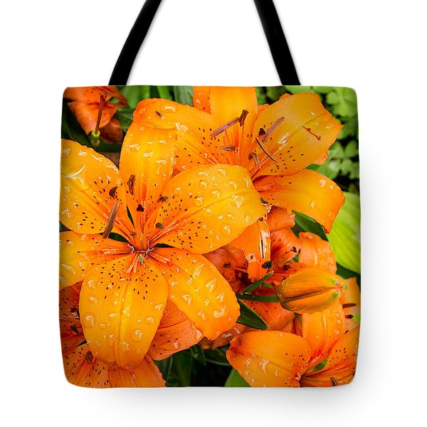 Tiger Lily After Morning Rain Tote Bag