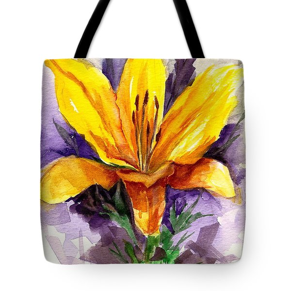 Tote Bag featuring the painting Tiger Lily by Ellen Canfield