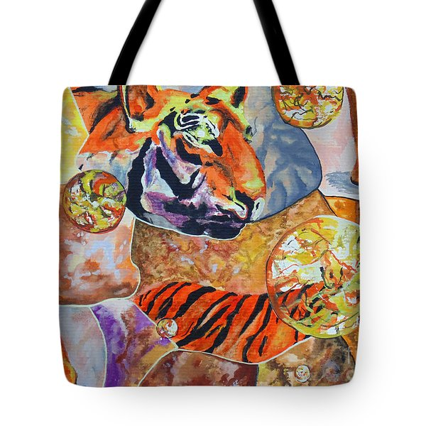 Tote Bag featuring the painting Tiger Mosaic by Daniel Janda