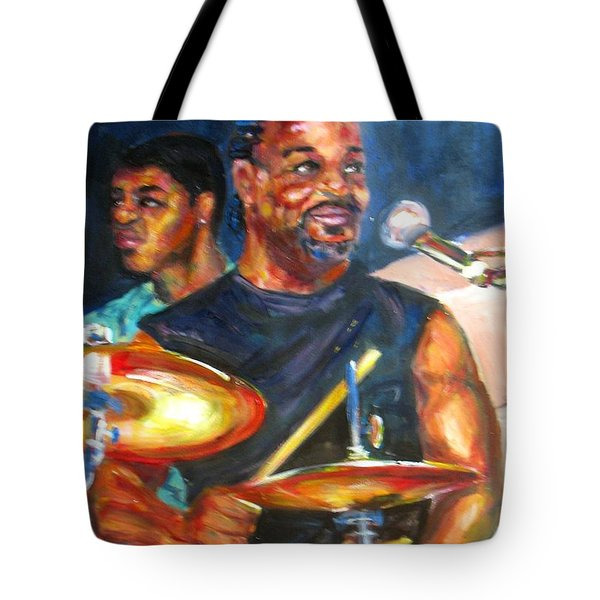 Tiger On Drums Tote Bag