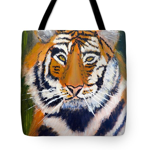 Tote Bag featuring the painting Tiger by Pamela  Meredith