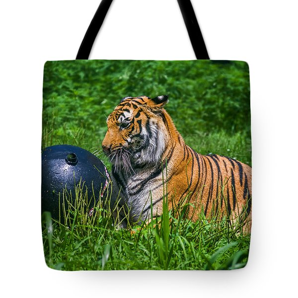 Tiger Playing With Ball Tote Bag