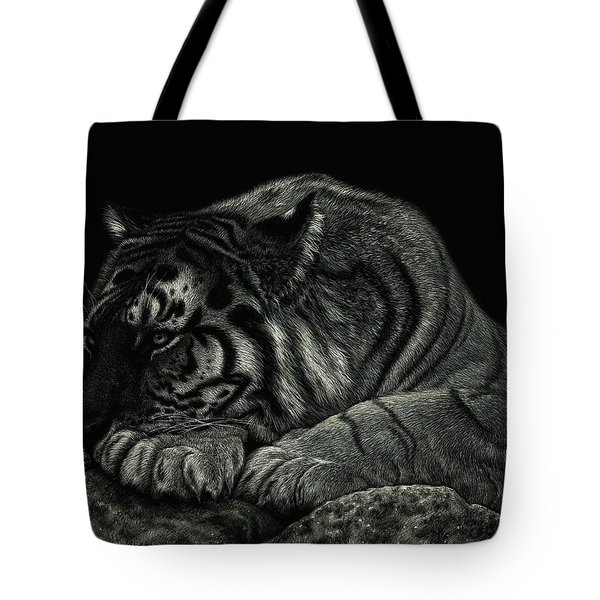 Tote Bag featuring the drawing Tiger Power At Peace by Sandra LaFaut