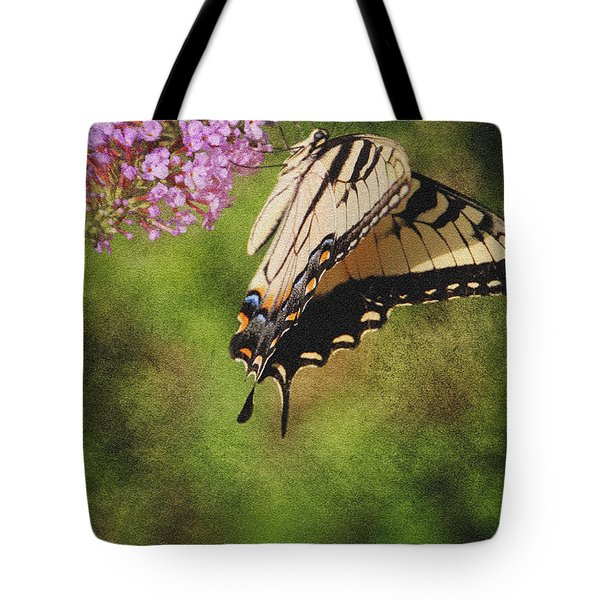 Tiger Swallowtail-featured In Photography And Textures And Harmony-happiness Groups Tote Bag by EricaMaxine  Price