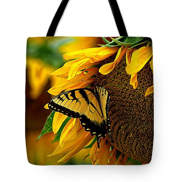 Tiger Swallowtail On A Sunflower Tote Bag