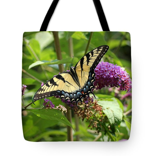 Tiger Swallowtail On Butterfly Bush Tote Bag