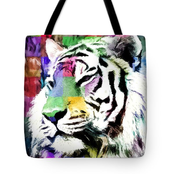 Tote Bag featuring the painting Tiger - Tigre by Ze  Di