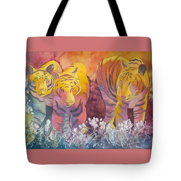 Tote Bag featuring the painting Tiger Trio by Nancy Jolley