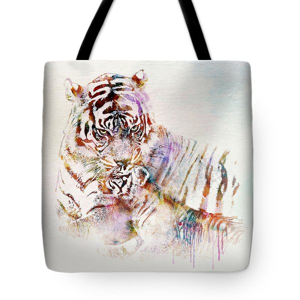 Tiger With Cub Watercolor Tote Bag