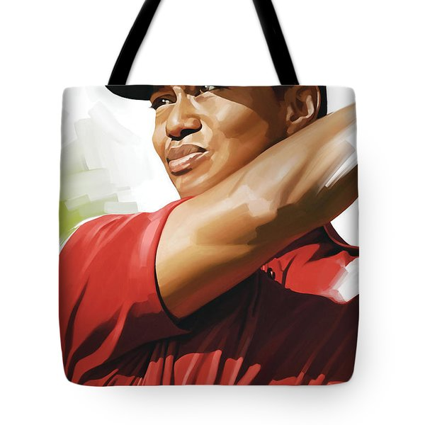 Tiger Woods Artwork Tote Bag by Sheraz A