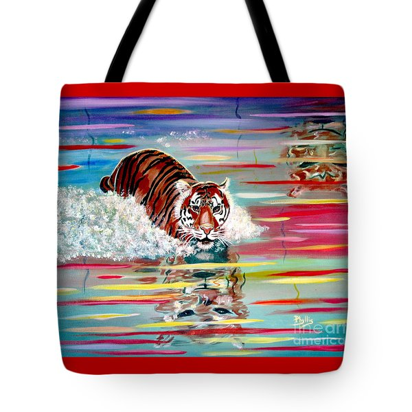 Tote Bag featuring the painting Tigers Crossing by Phyllis Kaltenbach