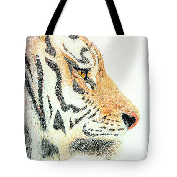 Tote Bag featuring the drawing Tiger's Head by Stephanie Grant