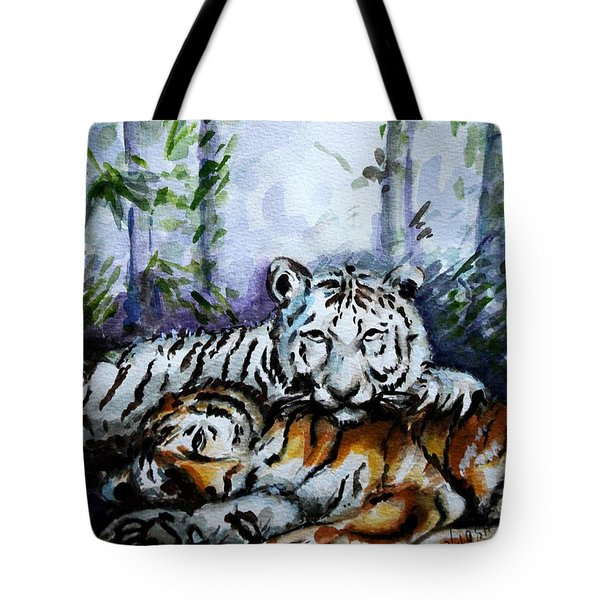 Tote Bag featuring the painting Tigers-mother And Child by Harsh Malik