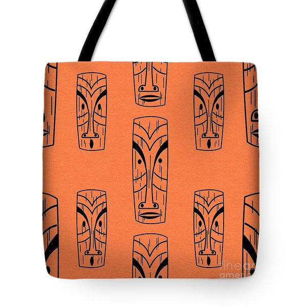 Tiki On Orange Pillow Tote Bag