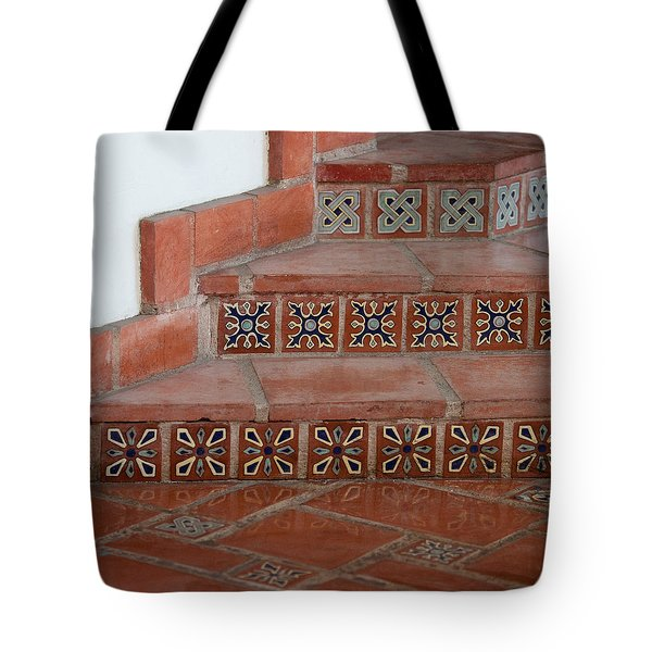 Tiled Stairway Tote Bag by Art Block Collections