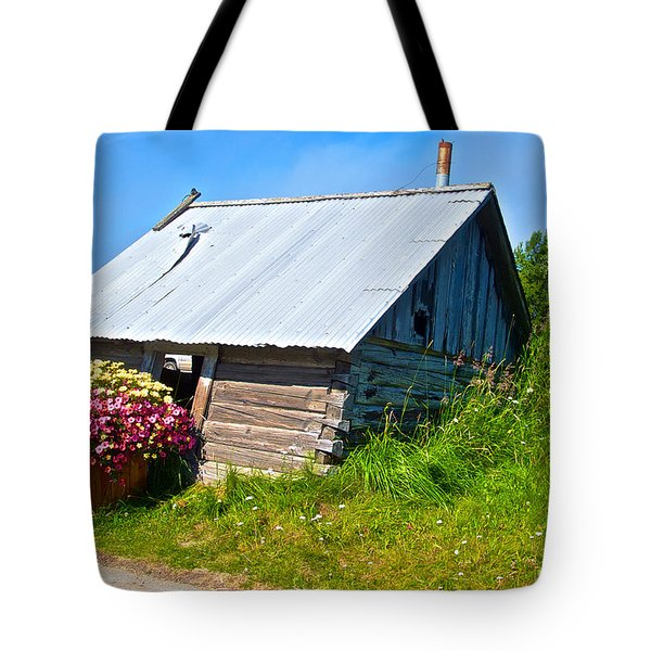 Tilted Shed In Old Town Kenai-ak Tote Bag by Ruth Hager