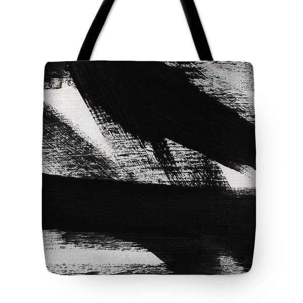 Timber 2- Horizontal Abstract Black And White Painting Tote Bag