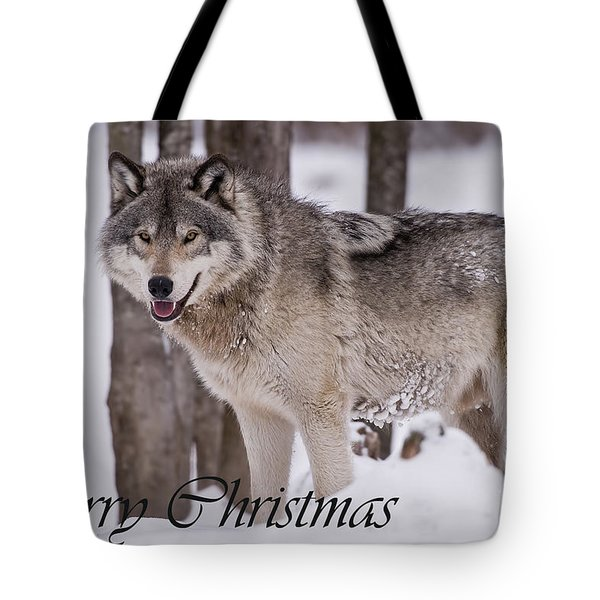 Timber Wolf Christmas Card English 3 Tote Bag