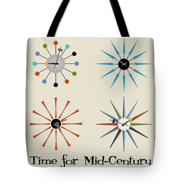 Tote Bag featuring the digital art Time For Mid-century by Donna Mibus