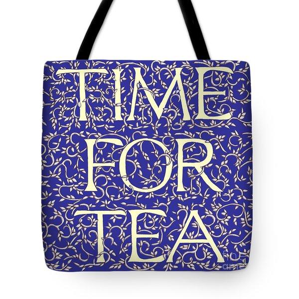 Time For Tea Royal Blue Tote Bag