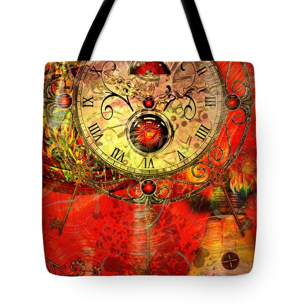 Time Passes Tote Bag by Ally  White