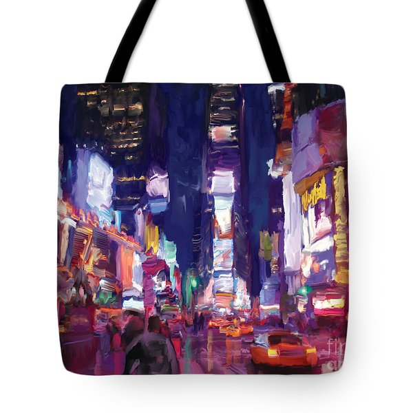 Amy's Time Square In The Rain Tote Bag by Tim Gilliland