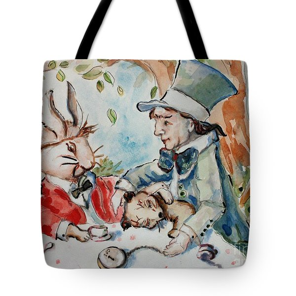 Time The Mad Tea Party 2 Tote Bag by Carrie Joy Byrnes