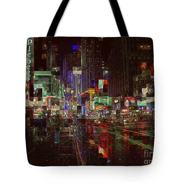 Times Square At Night - After The Rain Tote Bag by Miriam Danar