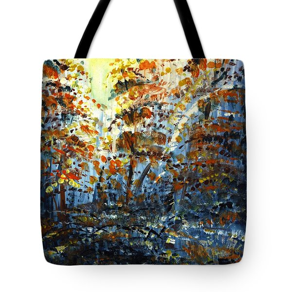 Tote Bag featuring the painting Tim's Autumn Trees by Holly Carmichael