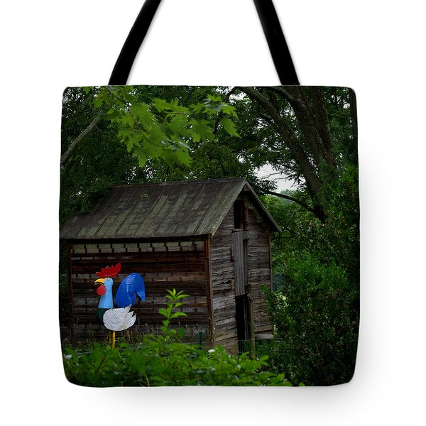 Tote Bag featuring the photograph Tin Rooster by Cathy Shiflett