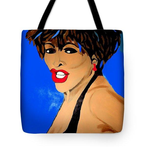 Tina Turner Fierce Blue Impression Tote Bag