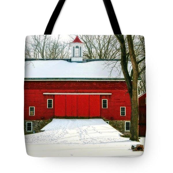 Tote Bag featuring the photograph Tinicum Barn In Winter II by Debra Fedchin