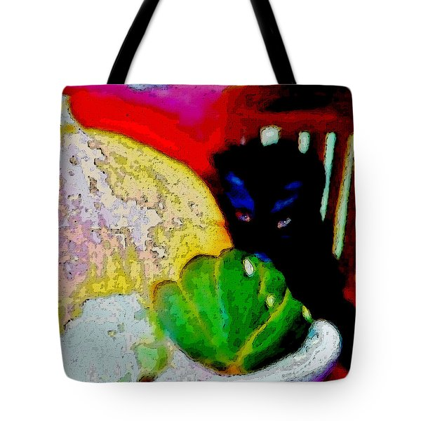 Tote Bag featuring the painting Tiny Black Kitten by Lisa Kaiser