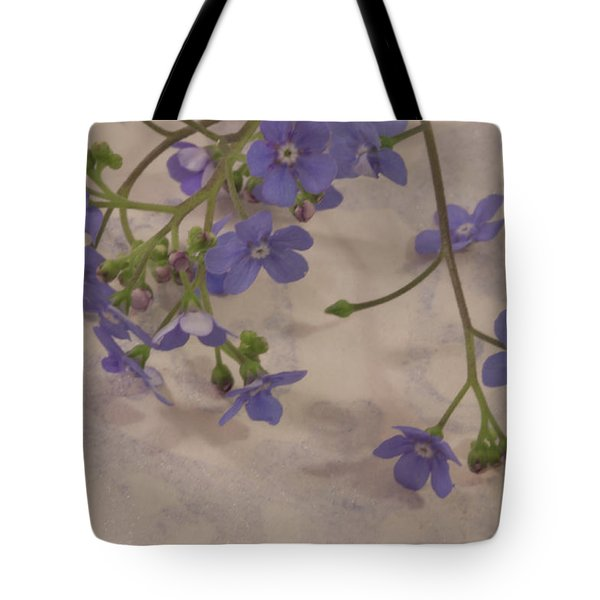 Tote Bag featuring the photograph Tiny Blue by Sandra Foster