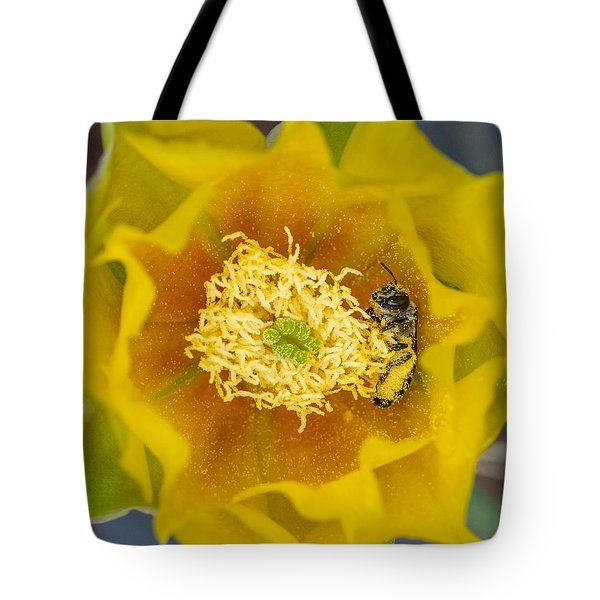 Tiny Dark Bee Covered In Prickly Pear Pollen Tote Bag