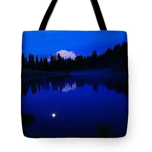 Tipoe Lake And Mount Rainer Tote Bag by Jeff Swan