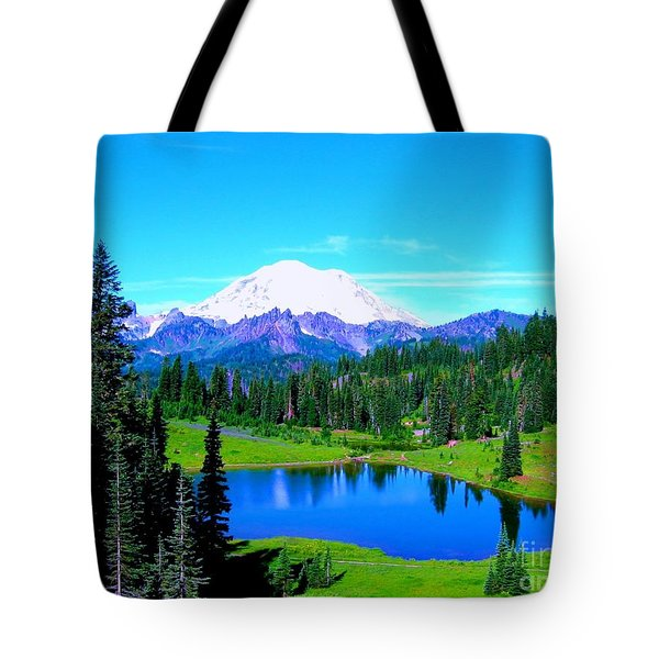 Tipsoo Lake Mount Rainier Tote Bag