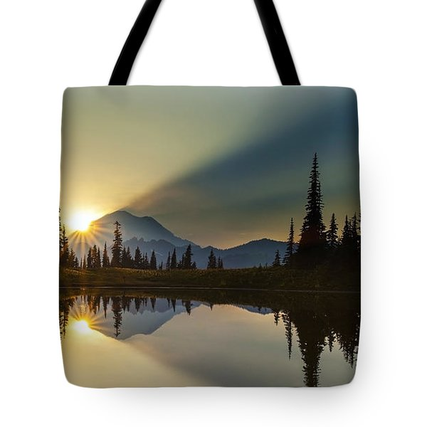 Tipsoo Rainier Sunstar Tote Bag by Mike Reid