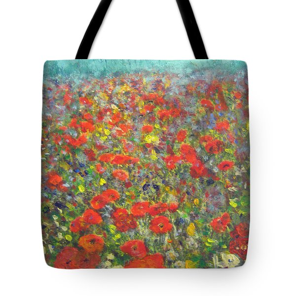 Tiptoe Through A Poppy Field Tote Bag
