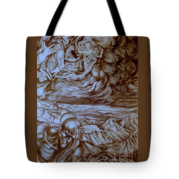 Tote Bag featuring the drawing Titan In Desert by Mikhail Savchenko