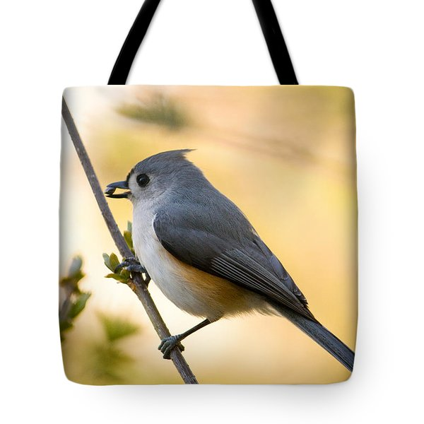 Titmouse In Gold Tote Bag