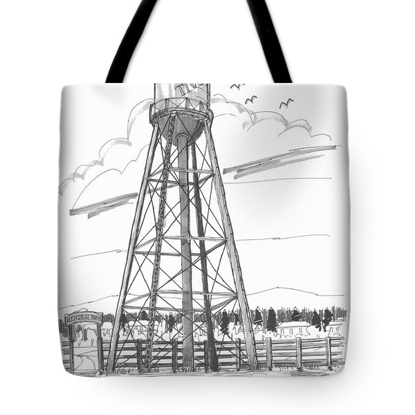 Tote Bag featuring the drawing Tivoli Water Tower by Richard Wambach