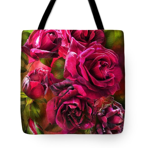 Tote Bag featuring the mixed media To Be Loved - Red Rose by Carol Cavalaris