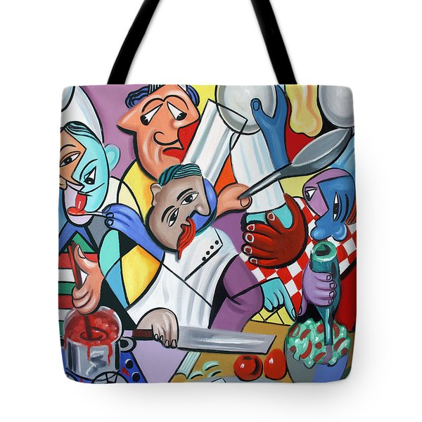 Tote Bag featuring the painting To Many Cooks In The Kitchen by Anthony Falbo