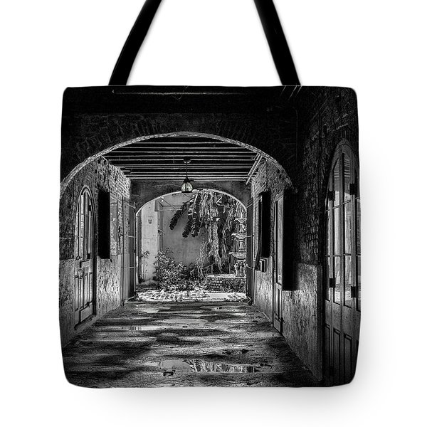 To The Courtyard - Bw Tote Bag by Christopher Holmes
